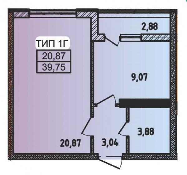 Планировки однокомнатных квартир 39.75 м^2
